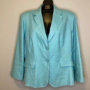 COTTON HILLS teal Linen single breasted blazer 1X